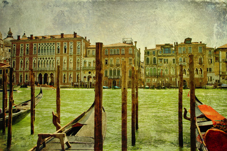Panoramic view of Venice Grand Canal with vintage and grunge effects added photo