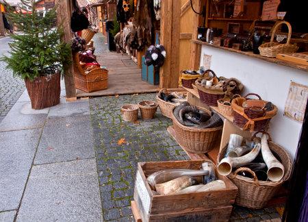 Traditional Medieval Christmas market ( Mittelaltermarkt) at Wittelsbacher Platz in Munich. Editorial