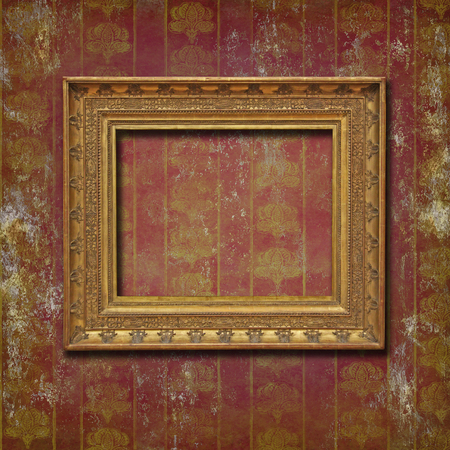 ruined: Baroque empty golden frame on a grunge ruined wallpaper with vintage floral pattern gold on purple Stock Photo