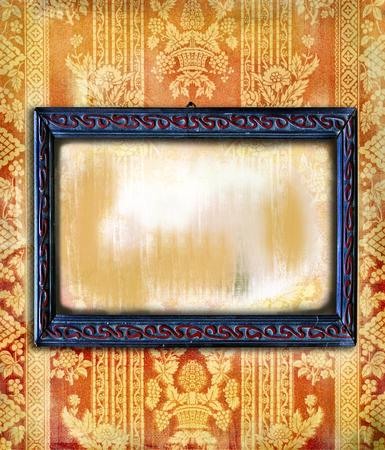 artdeco: Art-deco marco de madera en un grunge floral y se desvaneci� textura