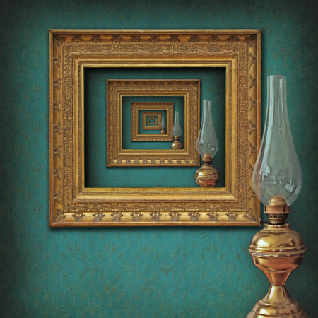 a dreamy vision of recursive frames in an elegant vintage interior with an old oil lamp reflecting in the mirror-like frame set.