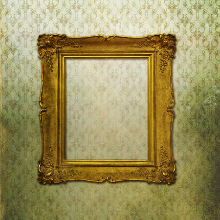 Baroque golden frame on green faded texture photo