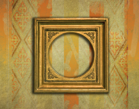 victorian wallpaper: Baroque golden frame with rounded internal corners on a grunge victorian wallpaper