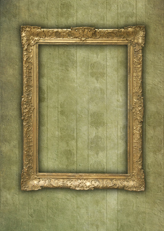 Antique decorative frame on grunge and faded background photo