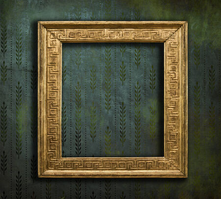 victorian wallpaper: Golden frame carved with ancient classical motives on a blue green grunge victorian wallpaper