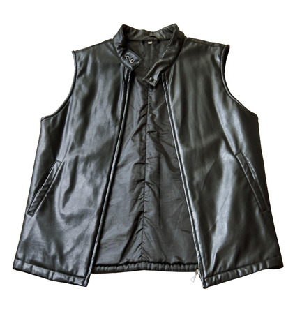 without clothes: A black padded leather jacket without sleeves with zip isolated in white