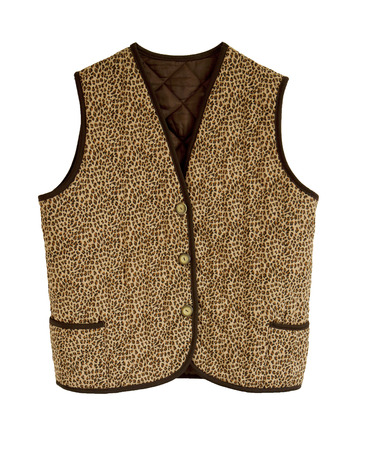 without clothes: An animalier padded  jacket without sleeves with buttons and brown borders isolated in white Stock Photo