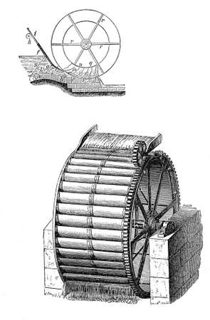 Energy from water, vintage water mill wheel, black and white engraving