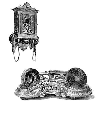 Vintage wall phone and handset, black and white engraving photo