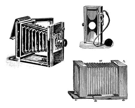 Early bellow camera,black and white engraving