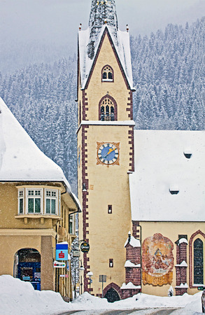 austrian village: KOETSCHACH-MAUTHEN, AUSTRIA View of  Koetschach-Mauthen center, characteristic Austrian village in Carinthia region on wintertime.