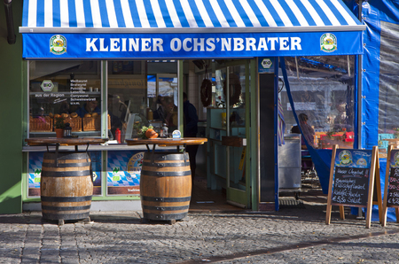 quick snack: MUNICH, GERMANY :  snack bar at Viktualien Markt offers Bavarian sausage specialties for a quick lunch