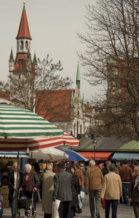 in the open air: Colorful open air market in Munich, Germany, a week before Easter Editorial