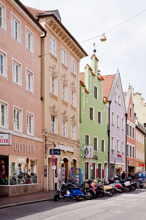 landshut: LANDSHUT, GERMANY -  central street in Landshut, Bavarian town near Munich. Landshut was founded on 1204 and its colorful houses maintain well preserved Renaissance facades
