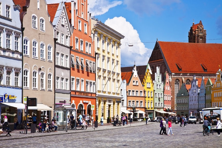 landshut: LANDSHUT, GERMANY - Panoramic view of Landshut center, Bavarian town near Munich. Landshut was founded on 1204, the facades of its buildings maintain a characteristic Renaissance style, bold colors and stucco decorations Editorial