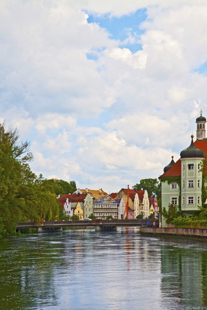 Romantic view of Landshut, Bavarian city near Munich, with Renaissance facades on the Isar river photo