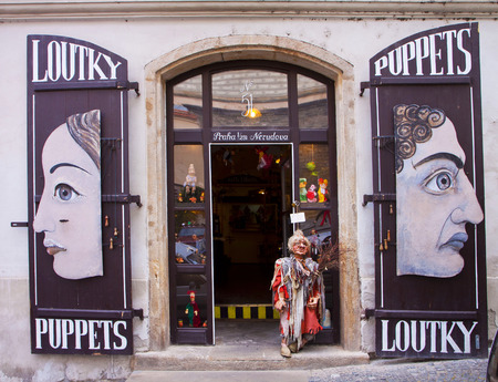 PRAGUE; CZECH REPUBLIC  Traditional shop of marionettes offers every size of artistic string puppets as souvenir