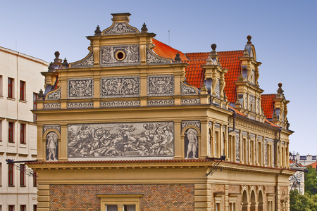 architectural  detail: Prague, architectural detail of the Smetana Museum founded in 1926, dedicated to the famous Bohemian composer, regarded as the father of Czech music.