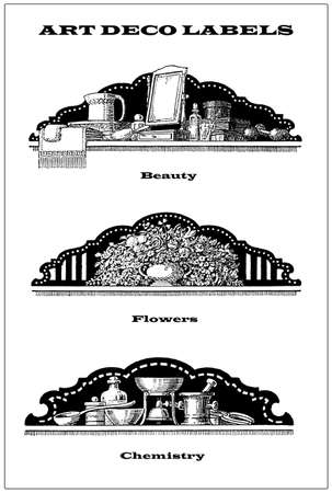 3 vintage mixed borders - labels about toilet and beauty, chemistry and flowers