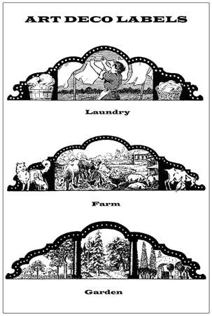 3 vintage borders - labels about open air work, garden and gardening, washing and laundry hanging, farm animals photo