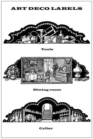 dining room: 3 vintage borders - labels about homework tools, dining room and cellar Stock Photo
