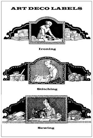 stitching: 3 vintage borders - labels about daily woman domestic chores: sewing,stitching,ironing