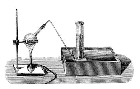 A simple device to extract oxygen from potassium chlorate. The potassium chlorate was heated in a flask and the resulting gas was collected in a closed cylinder immersed in water, where the water acted as a sealant to prevent air from contaminating the pr