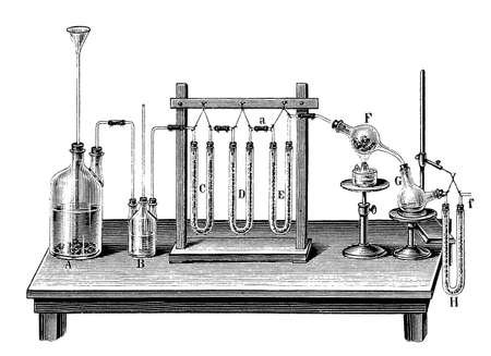 prove: Why make it simple when complicated is funnier?This contraption was meant to prove the exact chemical composition of water. In the  two bottles on the left hydrogen was produced by oxidizing the zinc bits on the bottom of bottle A;  the three U-shaped pip