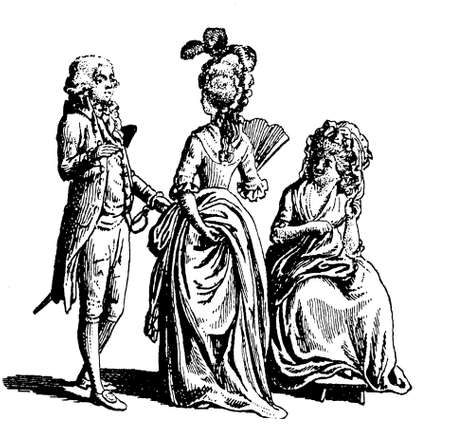 black ancestry: Vintage engraving depiction women and men fashion wear at French Revolution time