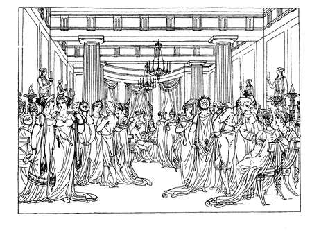 upper class: Early 1800 black and white lifestyle  drawing depicting the upper class costumes Stock Photo