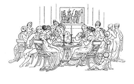 Vintage illustration - card game evening, fashion early