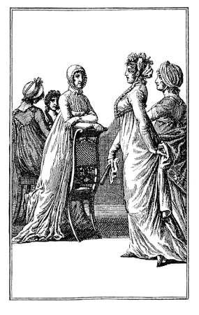 black ancestry: Vintage illustration, women fashion from Berlin Ladies Calender, 1803