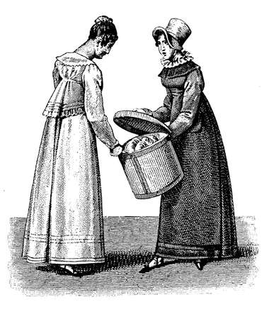 Vintage ladies fashion 1810 black and white engraving