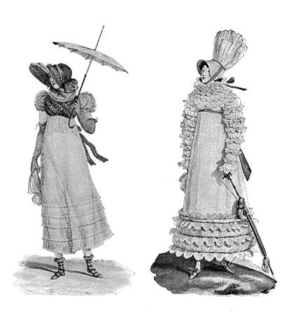 black ancestry: Vintage ladies fashion  parasols and hatscaricature early 1800