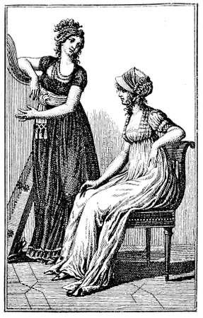 black ancestry: Vintage ladies fashion black and white engraving Berlin 1803