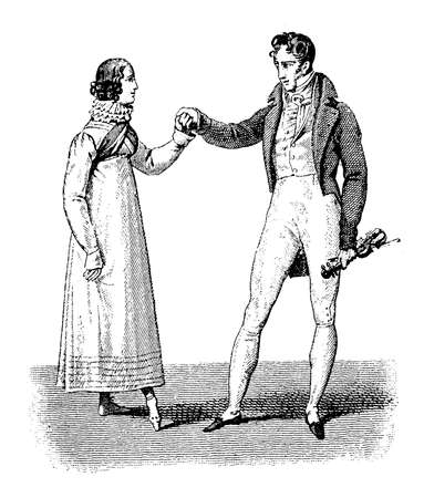 Invite to dancefashionable  lady and gentleman early 1800 black and white engraving Stock Photo