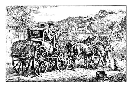 black ancestry: Black and white engraving of a stage coach with horses resting