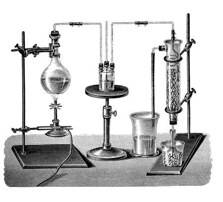 bunsen burner: Vintage lab equipment for sulfur dioxide production. The gas is condensed to liquid form through a mixture of ice and salt. Sulfur dioxide was used by the Romans in winemaking when they discovered that burning sulfur candles inside empty wine vessels kept
