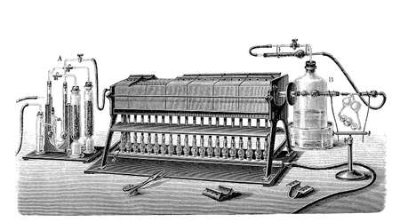 discovered: Nitrogen gas is an industrial gas produced by the fractional distillation of liquid air.Nitrogen is formally considered to have been discovered by Scottish physician Daniel Rutherford in 1772, Lavoisier referred to it as mephitic air or azote. Stock Photo