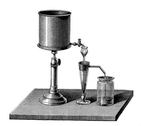 chemistry lab equipment, device to separate soil (mould, humus) in clay and sand by depositing the latter and washing off the former