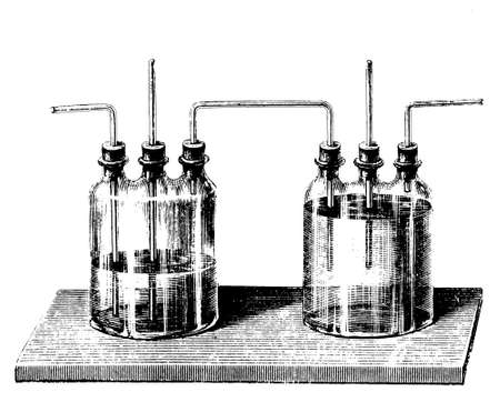 with liquids: A set of Woulff bottles, commonly used to prevent liquids from entering vacuum pumps, or to channel gases through liquids, trapping hazardous substances and preventing pressure buildup.