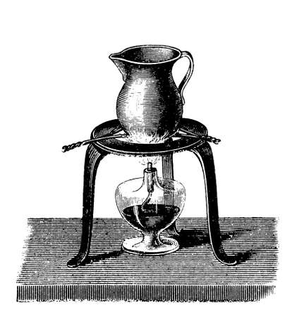 The jug, containing ashes or sand and some friction matches, is heated with an alcohol lamp. When  the ashes temperature reaches 65-70 degrees the phosphorus of the matches burns.