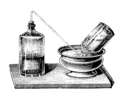 fermentation: device to collect the carbon dioxyde resulting from the fermentation of a 12.5% honey solution in water Stock Photo