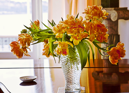 courtain: romantic yellow orange tulips in glass in a room interior