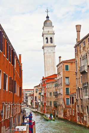 inclined: VENICE, ITALY - FEBRUARY 8, 2015 - view from Riva degli Schiavoni of the inclined belfry of Saint George of the Greeks orthodox church in Venice