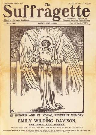 Suffragette magazine gives angelic status to   Emily Davison. Suffragettes were members of women's organization  movements in the late 19th and early 20th century, particularly militants in Great Britain. Only in 1928 suffrage was extended to all women ov Stock Photo - 45086289
