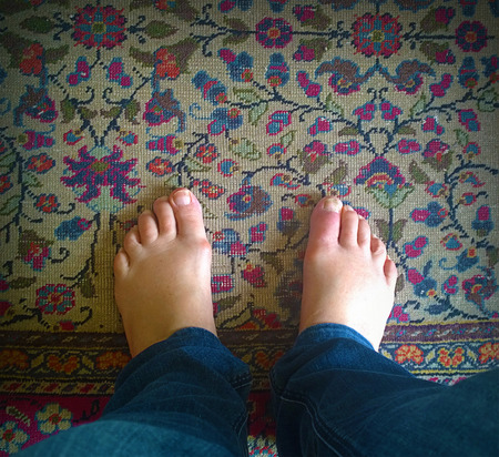 mundane: Meditation, contemplating my feet on oriental carpet