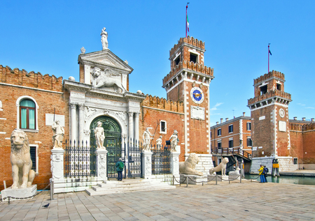 contributing: Venice, Italy - the Arsenal of Venice,  now  famous landmark, was built in 1104 and was the the largest and efficient shipyard in Europe, contributing along the centuries to the power of Venice. Editorial