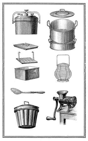 engravings: Engravings of kitchen cooking tools for every recipe. My elaboration of engravings fromSueddeutsche Kueche by Katharina Prato - Verlagbuchhandlung Styria, 1913, author unidentified.