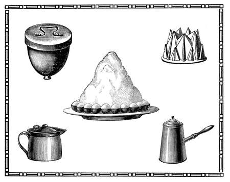 elaboration: Engravings of kitchen tools for dessert, meringues cake, coffee and milk pot. My elaboration of engravings fromSueddeutsche Kueche by Katharina Prato - Verlagbuchhandlung Styria, 1913, author unidentified. Stock Photo